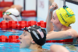 Ariarne Titmus celebrates her victory over Katie Ledecky.