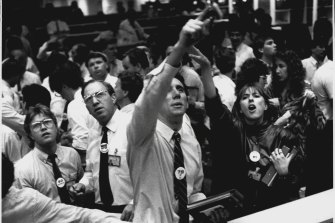 """""""Genuine panic"""" at the Sydney Stock Exchange on October 20, 1987."""
