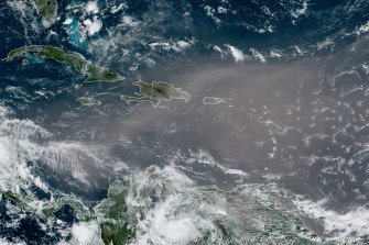 This satellite photo shows a cloud of dust coming from the Sahara desert stretching across the Caribbean.