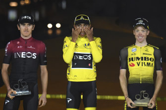 This year's Tour de France winner Egan Bernal (centre) is excited by the route for the 2020 race.