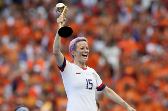 United States' Megan Rapinoe celebrates her team's victory.
