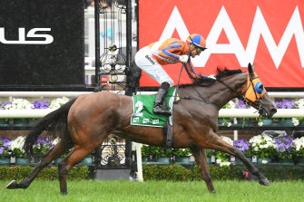 Jockey Opie Bosson steers Melody Belle to victory at the Empire Rose Stakes on Derby day.