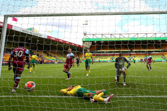 Michail Antonio celebrates his third goal against now-relegated Norwich.