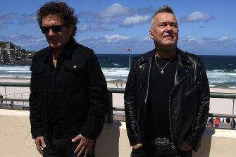 Ian Moss (left) and Jimmy Barnes share vocals on new Cold Chisel song Getting the Band Back Together.