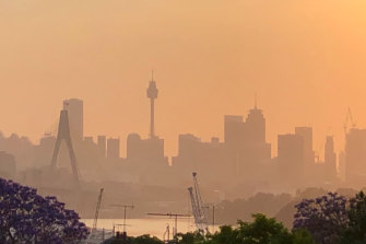 Smoke over Sydney early on Saturday morning.