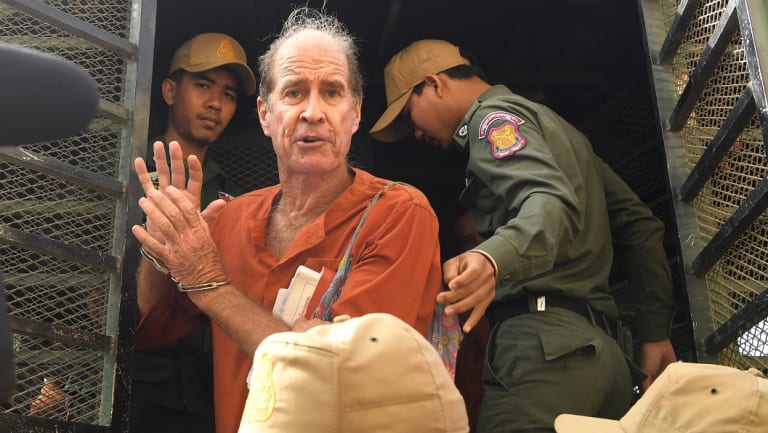 James Ricketson arriving in court for his espionage trial on Friday. He faces a 10-year sentence if found guilty.