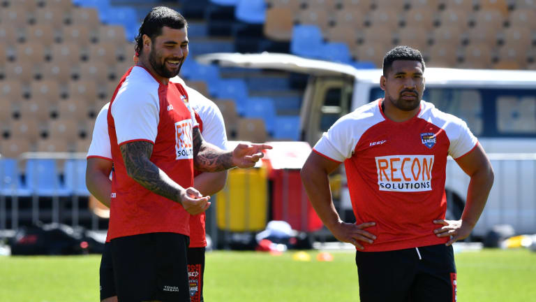 Game on: Andrew Fifita (left) will face his former Kangaroos teammates for the first time on Saturday.