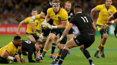 On the march: Wallabies forward Izack Rodda was strong in a standout performance from the Australian pack.