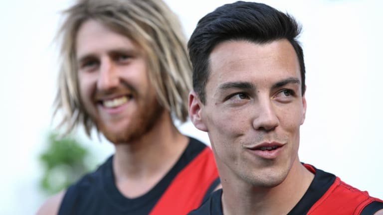 Dyson Heppell with Dylan Shiel yesterday at the MCG.
