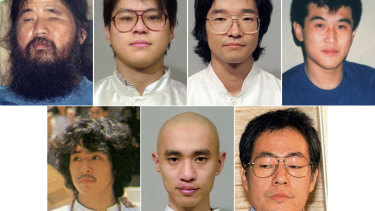 Combination photos shows Aum Shinrikyo cult leader Shoko Asahara, top left, and some of his cult members.