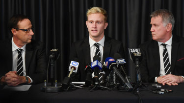 Suspended Collingwood player Jaidyn Stephenson faces the music.