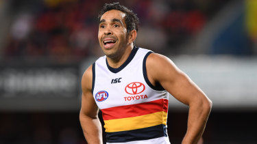 Eddie Betts of the Crows reacts after scoring his fifth goal.