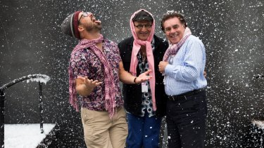 Director Andy Morton, set and costume designer Dan Potra and artistic director of Opera Australia Lyndon Terracini on the floating set of La Boheme.