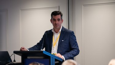 Super Retail Group chief executive Anthony Heraghty speaking at the Macquarie Australia conference.