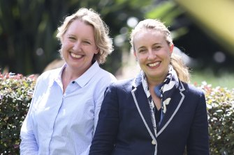 Associate director of client analytics, Jane Absolum (left) and associate director of corporate governance, Kristen Miller, of Commonwealth Bank in Sydney.