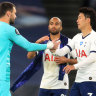 Spurs captain Lloris confronts Son during 1-0 win over Everton
