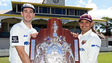 Kurtis Patterson and Usman Khawaja at Allan Border Oval on Wednesday.
