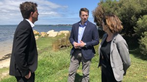Mandurah mayor Rhys Williams, Canning MP Andrew Hastie, and Peel-Harvey Catchment Council chief executive Jane O'Malley are opposing a marina development in the heart of Mandurah's estuary.