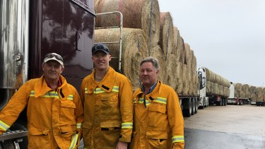 Convoys of hay at Bairnsdale. Ready to distribute to farms