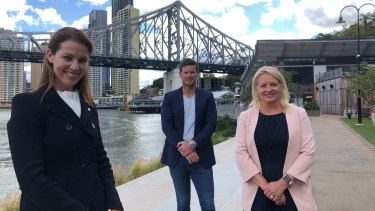 (From left) Planning Institute's Wendy Evans, Howard Smith Wharves chief executive Luke Evans and deputy mayor Krista Adams.