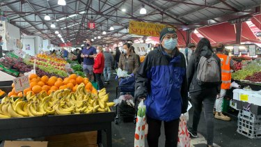 Masked-up Melburnians were mostly well-behaved at Queen Victoria Market.