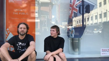 Griffith University artists Matthew Newkirk  (left) and Aden Sargeant say Queensland Premier's office has tried to close down their Griffith University exhibition in Fortitude Valley.