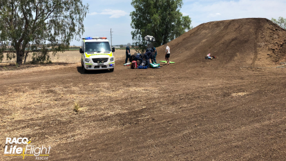 Man airlifted after attempting backflip and falling from motorbike