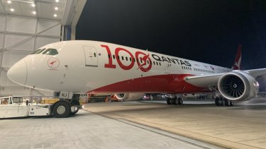 The first Sunrise test flight will be operated with a brand new 787 Dreamliner (pictured). The jet has a special livery marking Qantas' 100th year of operation.
