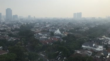 Pollution hangs heavy over the Indonesian capital, Jakarta.