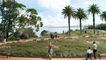 An artists impression of the wheelchair accessible path through South Head national park.