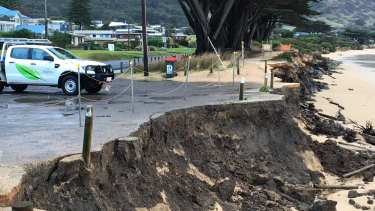 Damage at the car park on Monday.