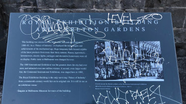 A plaque near the front entrance of the building was also vandalised.