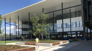The main entrance to the new Petrie campus of the University of Sunshine Coast, Queensland's newest university campus.