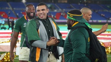 Emotional: Bryan Habana at last year's Rugby World Cup final.