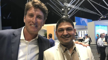 Microsoft Australia managing director Steven Worrall and Illuminance chief executive Nilesh Makwana.