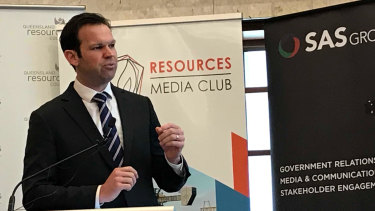 Senator Matt Canavan speaks at the inaugural Queensland Resources Media Club lunch.