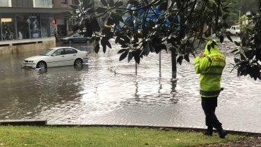 Flash flooding on Pyrmont Bridge Road.