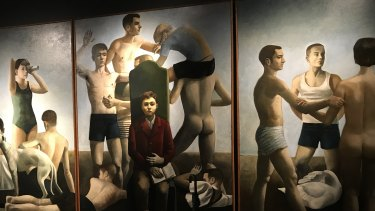 """Anne Wallace depicts herself in the foreground of this 1991 work """"I See the Boys from Summer""""."""