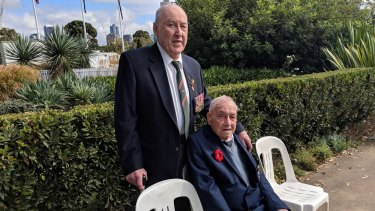 Lyall Butling (left), 95, with Bill Holmes, also 95.