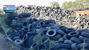 Tyres stored at a south-east Queensland site.