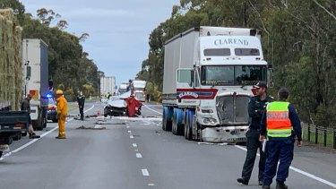 The scene of the crash near Horsham on Tuesday that left two women dead.