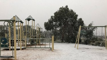 Snow falls at Gisborne on Sunday morning.