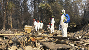 Search and rescue teams comb the ruins of Paradise, California.