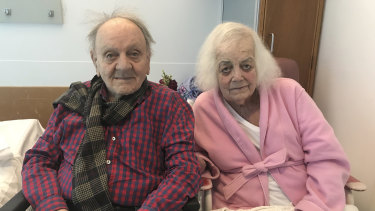 Jacqueline Jackson, 85, and Ivan Jackson, 88, at Canberra Hospital in Woden.