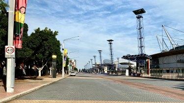 Empty boulevard at Sydney's Olympic Park.