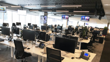 The Age newsroom was empty on Thursday to prevent spread of coronavirus.