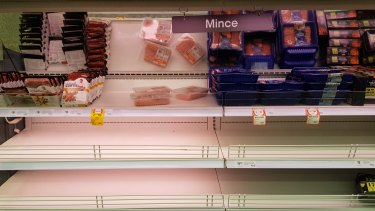 Empty meat shelves at New Farm Coles after a three-day snap COVID lockdown was announced for Brisbane. Pic taken Monday, March 29, 2021