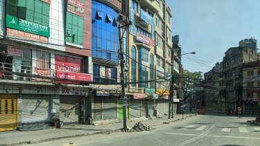 The empty streets of Kathmandu on the couple's arrival.