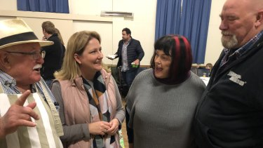 Rebekha Sharkie, centre left, with ex-Liberal voter Bryan Broad, left, Mount Barker mayor Ann Ferguson, and Mount Barker councillor Greg Morrison.
