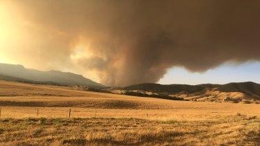 Fire approaching the Sheather family farm.